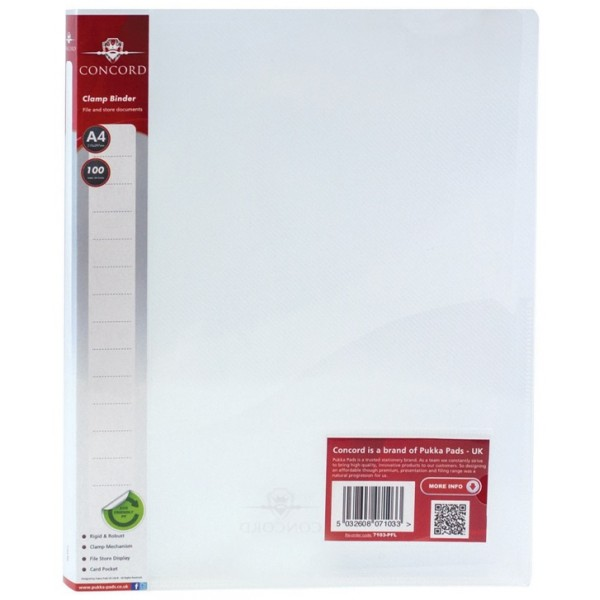 A4 Clamp Binders - Clear - Pack of 10