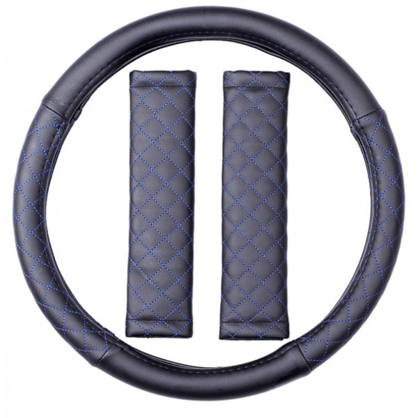 Steering Wheel Cover & Seat Belt Pads - Leatherlook - Black/Blue