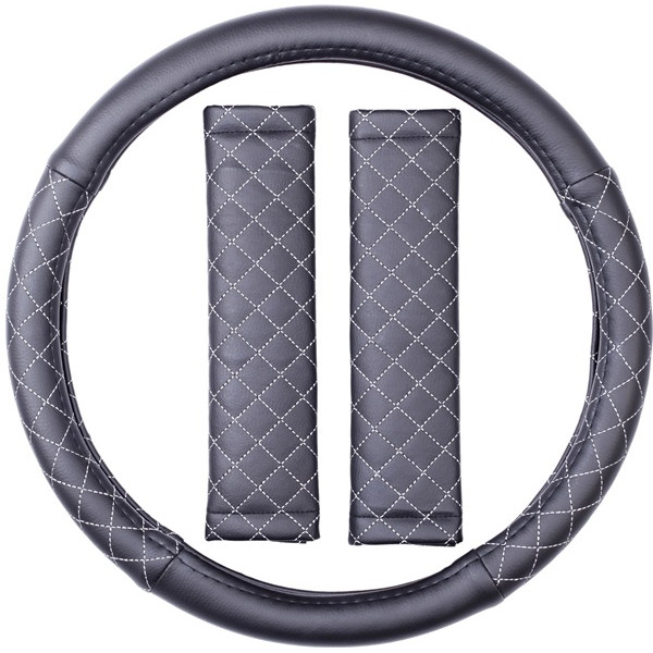 Steering Wheel Cover & Seat Belt Pads - Leatherlook - Black/Grey