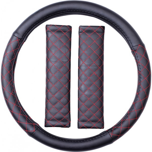 Steering Wheel Cover & Seat Belt Pads - Leatherlook - Black/Red