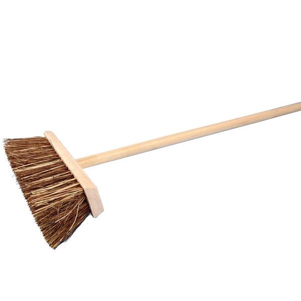 Stiff Bristle Wooden Broom Head & Handle - 12in.