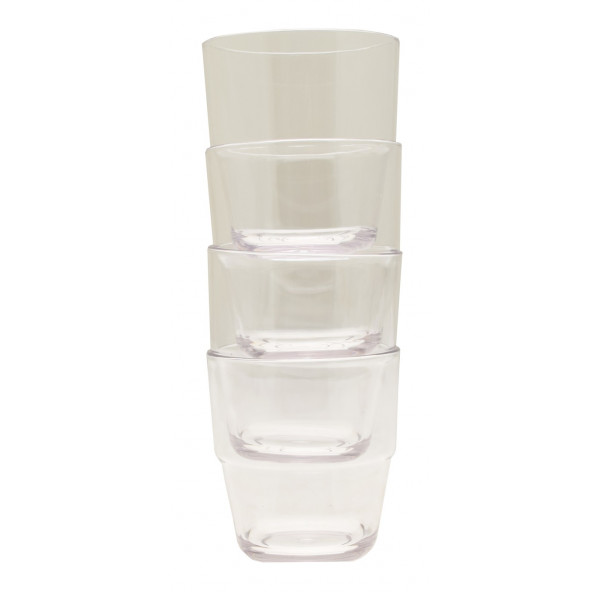 Small Stacking Acrylic Tumblers - Clear - Pack of 4