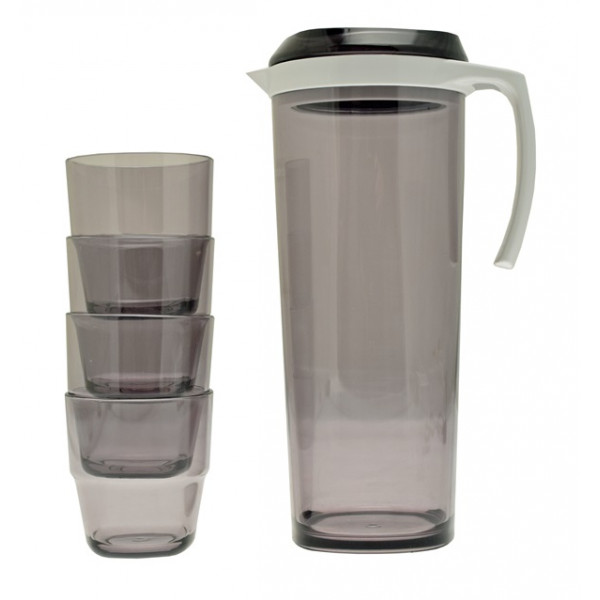 1.5 Litre Acrylic Pitcher With Spill Proof Lid and 4 Acrylic Stacking Tumblers
