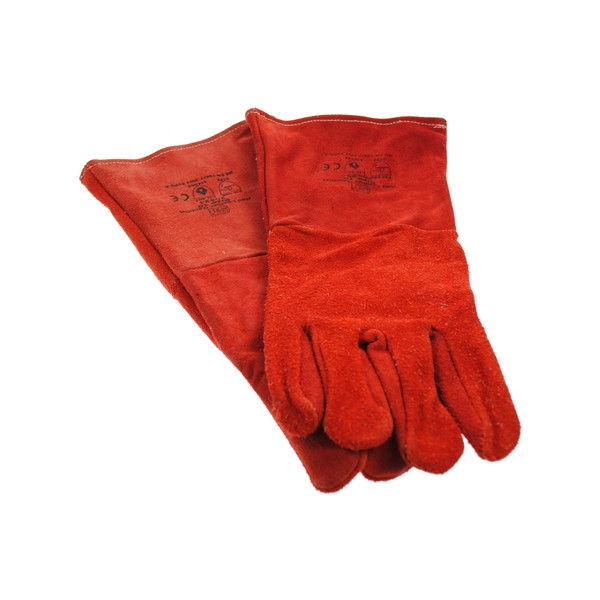 Welders Gauntlets Leather Lined - Red - Large