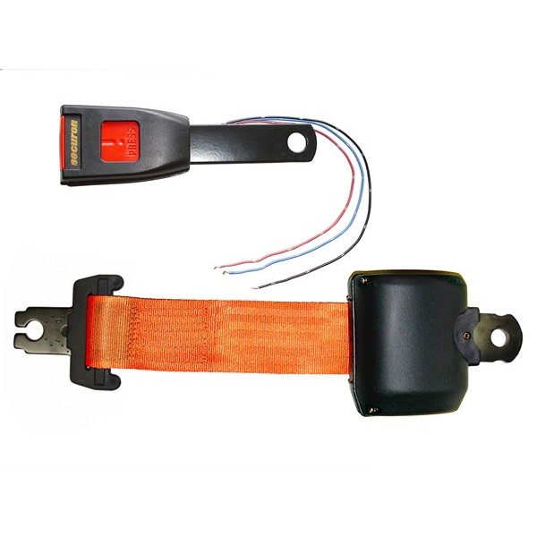 Seat Belt - Retracting Lap & Electric Switch Buckle - Orange