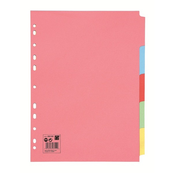 A4 Multipunched Subject Dividers - Assorted - 5 Part
