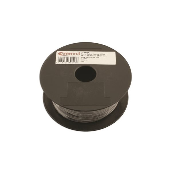 1 Core Cable - 1 x 28/0.3mm - Black - 50m