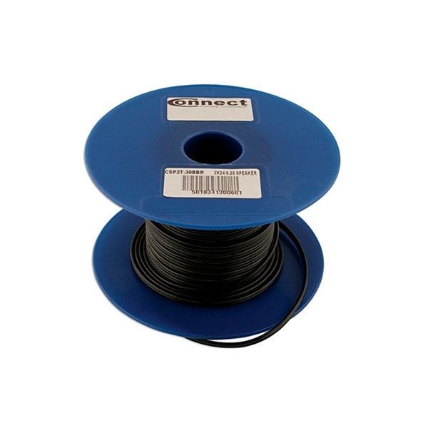 Twin Core Speaker Cable - 2 x 24/0.2mm - Black/Red - 100m - 6.0A