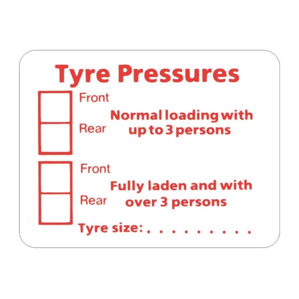 Self Adhesive Sticker - Tyre Pressure