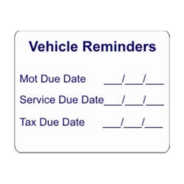 Self Adhesive Sticker - Vehicle Reminder