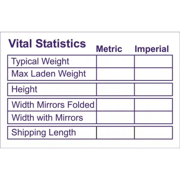 Self Adhesive Sticker - Vital Statistics