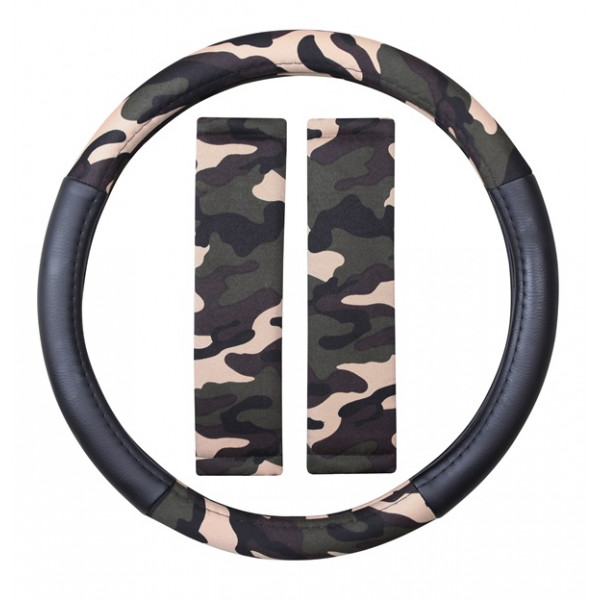 Steering Wheel Cover & Seat Belt Pads - Camouflage