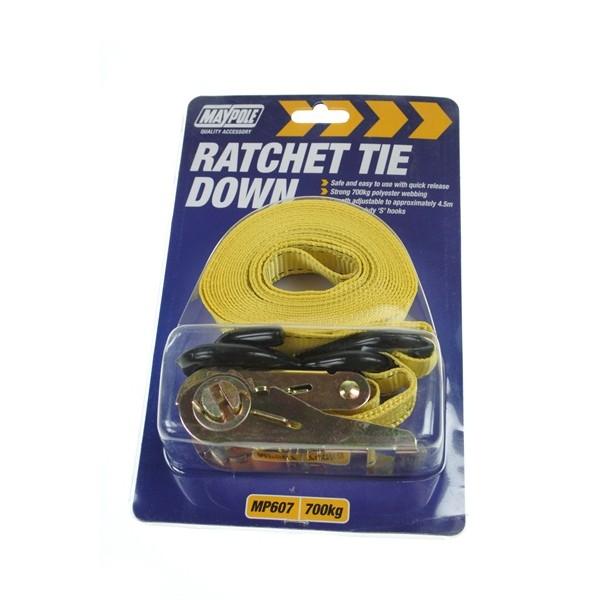 Ratchet Tie Down Strap & Hooks - 4.5m x 25mm