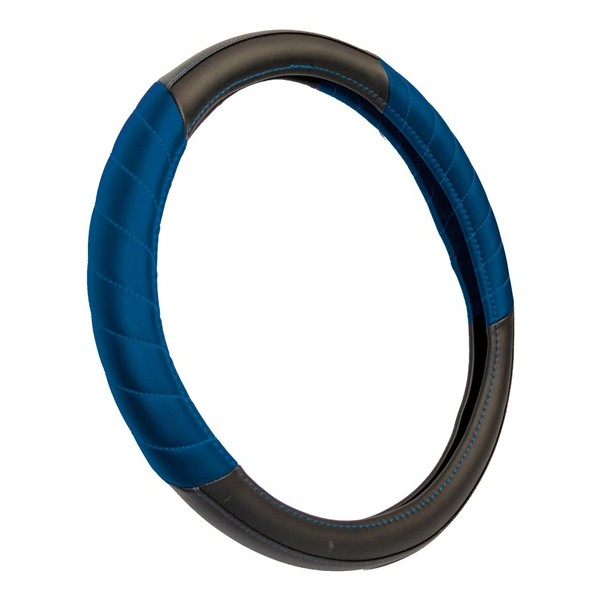 Steering Wheel Cover - Leatherlook - Black/Blue