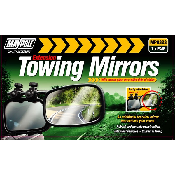Towing Extension Mirror - Convex Glass - Pack of 2