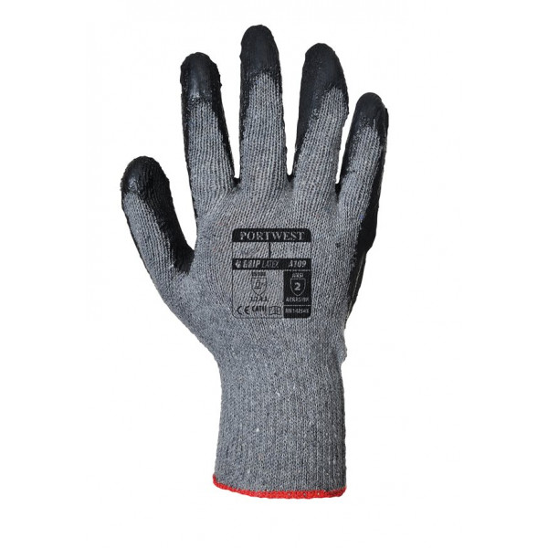Grip Glove Knit Latex - Black - Large - Pack of 12
