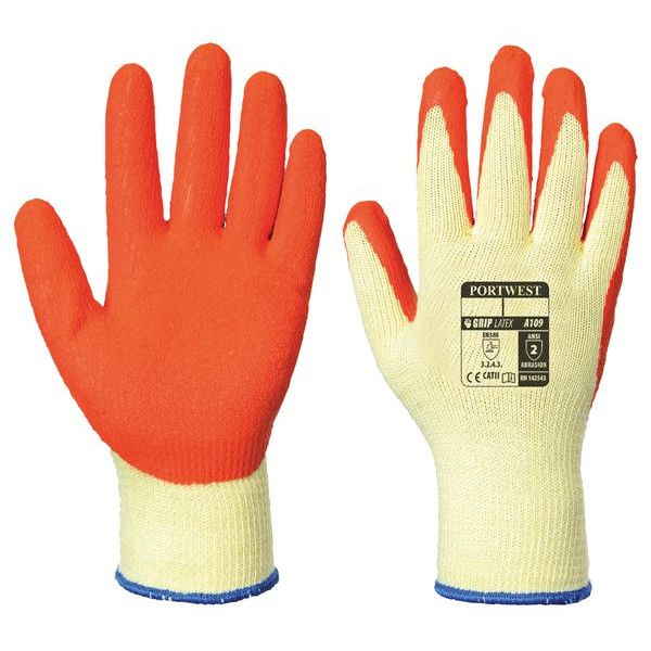 Grip Glove Knit Latex - Orange - X Large - Pack of 12
