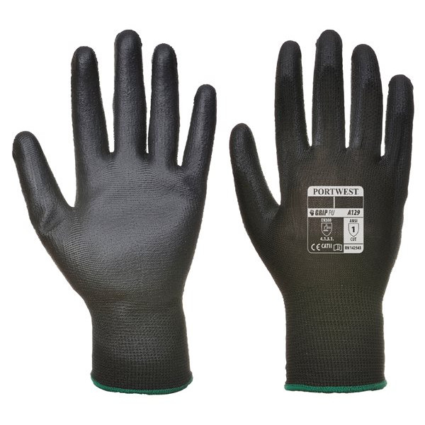 PU Palm Glove - Black - Small - Pack of 12