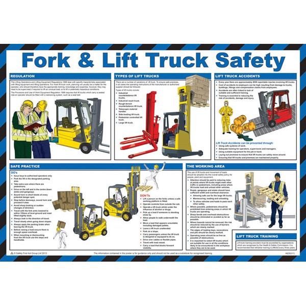 Fork Lift Truck Safety Guidance Poster - 59cm x 42cm