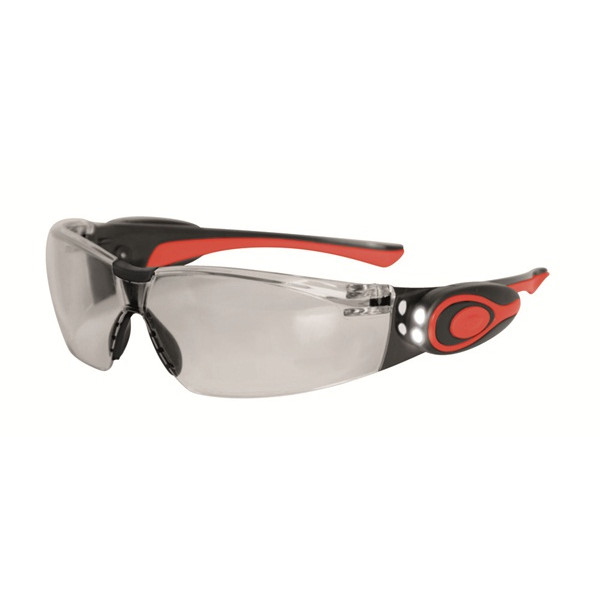 Stealth 8000 Glasses - Clear Frame - Clear Anti-Fog Lens With LED Lamp