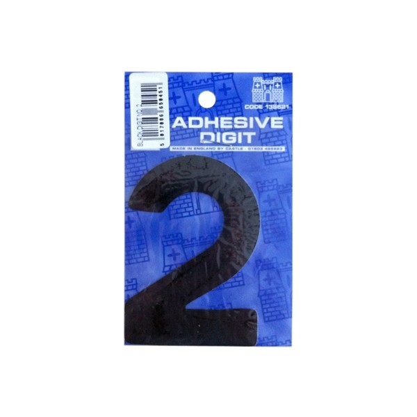 2 - 3in. Adhesive Digit - Black - Pack Of 12