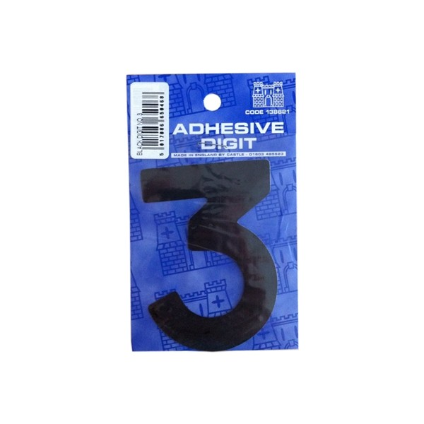 3 - 3in. Adhesive Digit - Black - Pack Of 12