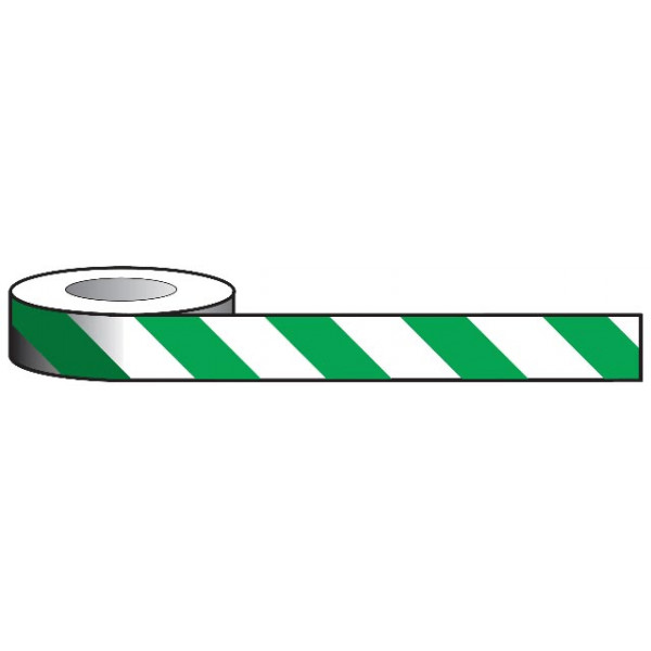 Aisle Marking Tape - Green/White - 33m x 50mm