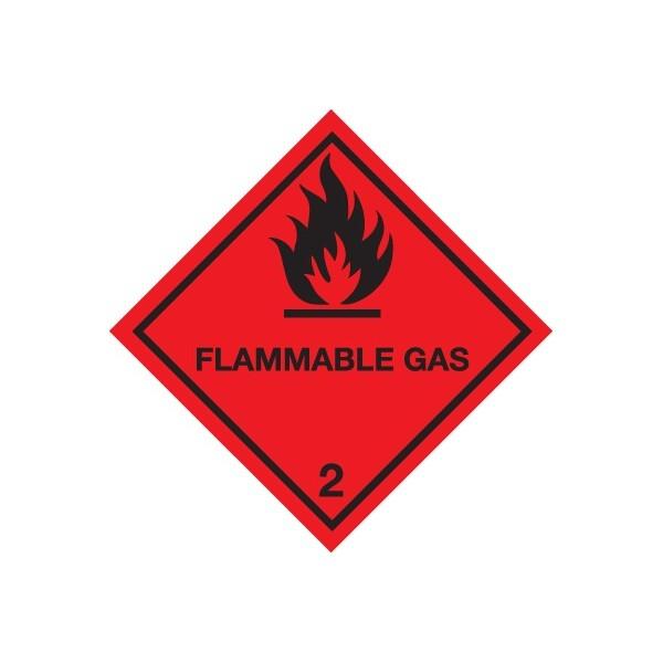 Class 2 Flammable Gas Warning Diamond - Self Adhesive Vinyl - 100mm x 100mm