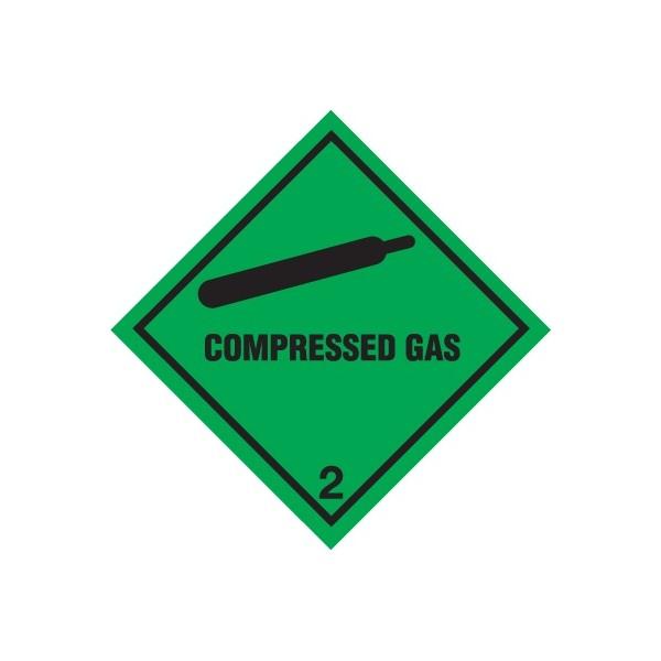 Class 2 Compressed Gas Warning Diamond - Self Adhesive Vinyl - 100mm x 100mm