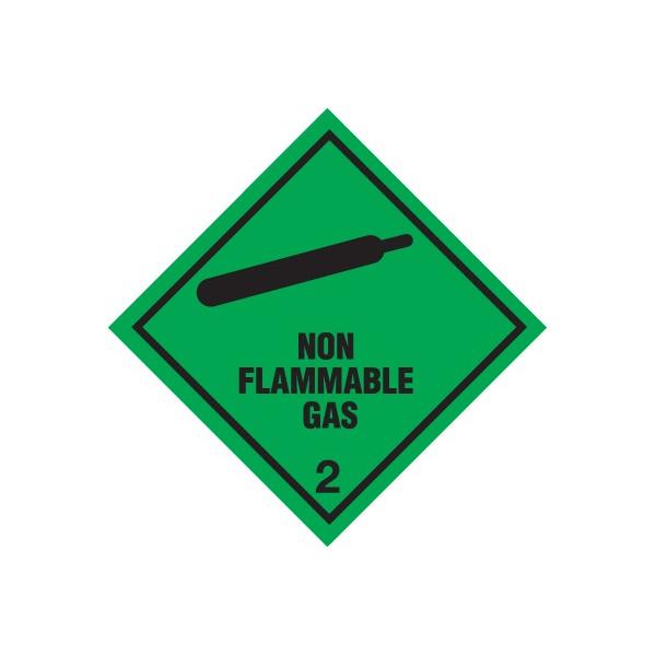 Class 2 Non Flammable Gas Warning Diamond - Self Adhesive Vinyl - 100mm x 100mm