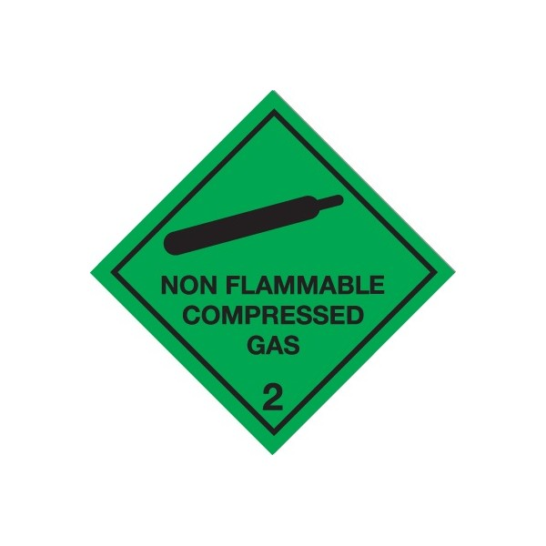 Class 2 Non Flammable Compressed Gas Warning Diamond - Self Adhesive Vinyl - 100mm x 100mm