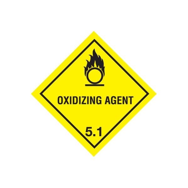 Class 5.1 Oxidizing Agent Warning Diamond - Self Adhesive Vinyl - 100mm x 100mm