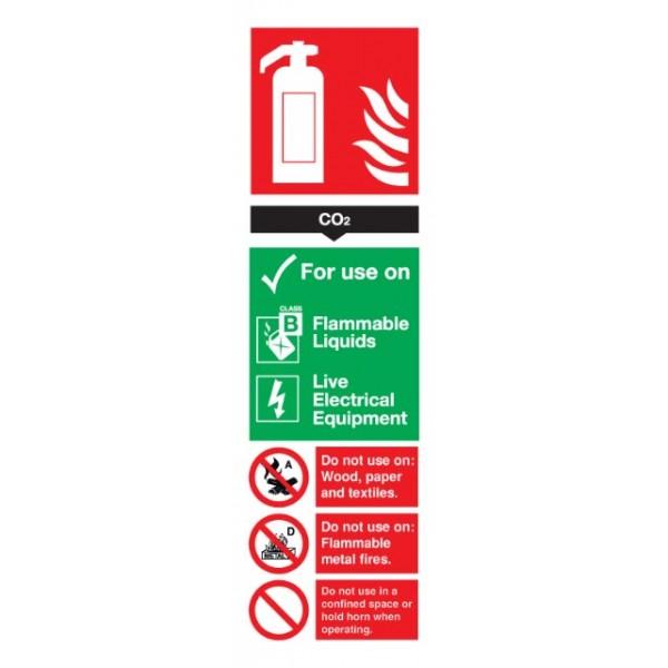 CO2 Fire Extinguisher Sign - Rigid Polypropylene - 300mm x 100mm