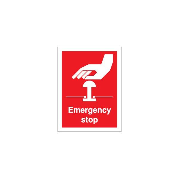 Emergency Stop Sign - Self Adhesive Vinyl - 100mm x 75mm