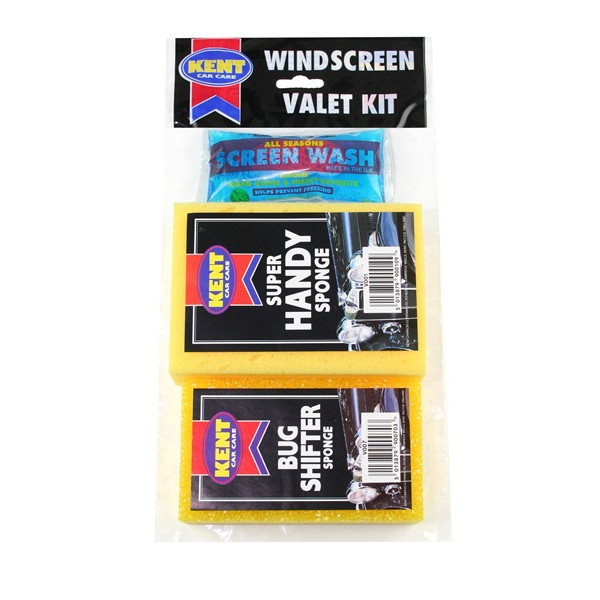 Windscreen Valet Kit With Bugshifter Sponge - 3 Piece Set