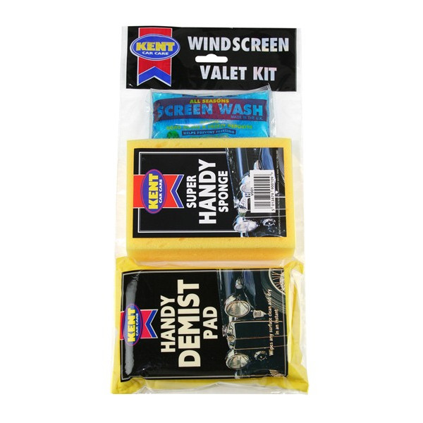 Windscreen Valet Kit With Handy Demist Pad - 3 Piece Set