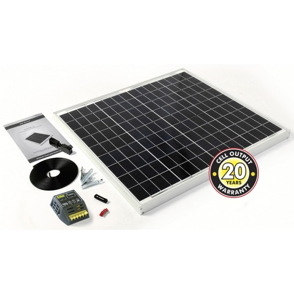 Solar Panel With Cable, Connectors & 4Ah Controller - 60Wp