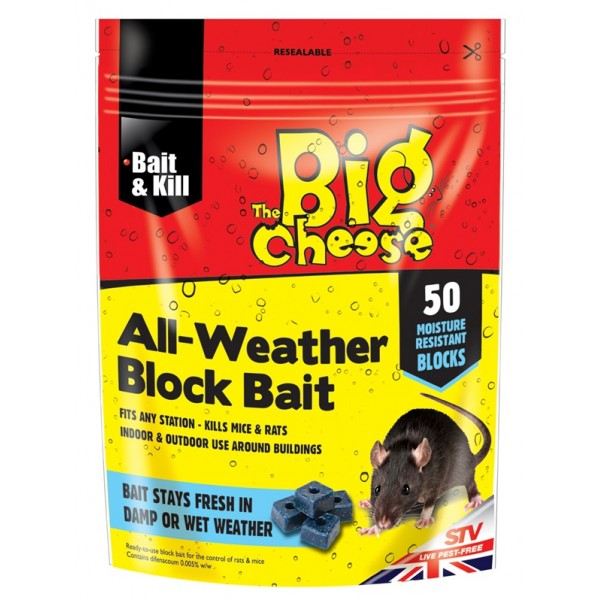 All-Weather Mice & Rat Block Bait - Pack of 50